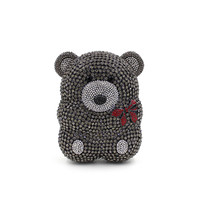 Women Cartoon Cute Bear Hollow Out Gold Crystal Evening Bags Metal Hard Case Clutches Rhinestones