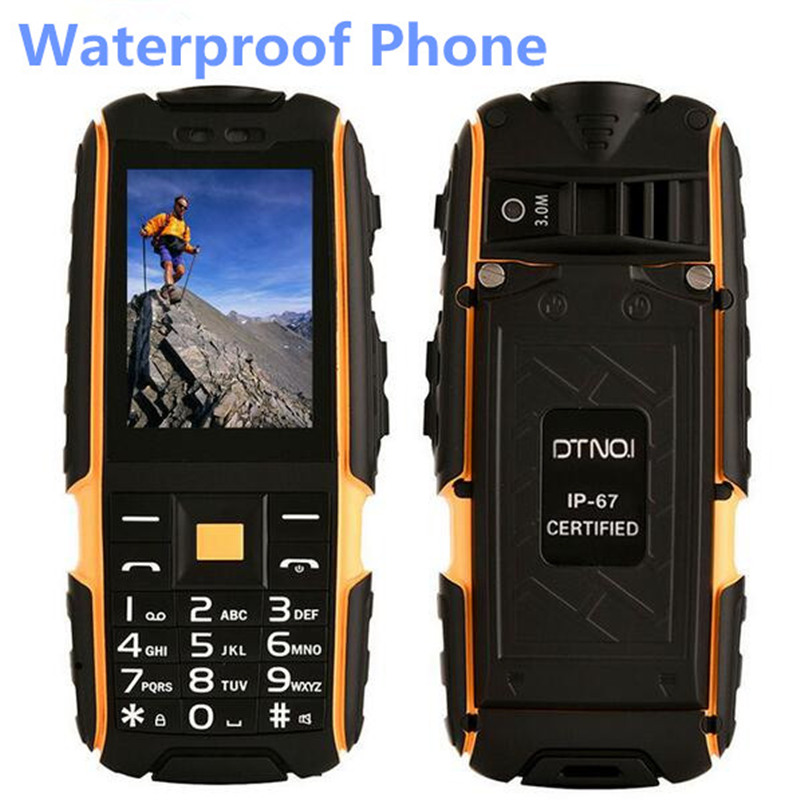 """Цена за Новый Оригинальный DTNO.1 A9 IP67 Водонепроницаемый Ourdoor Телефон 2.4 """"Дисплей 240*340 3.0MP Камера 4800 мАч Батареи Фонарик Dual SIM Телефон"""