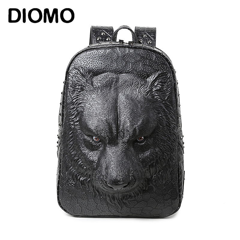 DIOMO cool women backpack shoulder bags 3D tiger backpack for teenage girls high quality pu