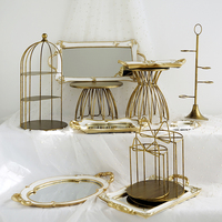 Europe Style Wedding Dessert Plates Metal Cake Holders Emboss Mirror Surface Fruits/Food Serving Tray Gold Color Wedding Decor