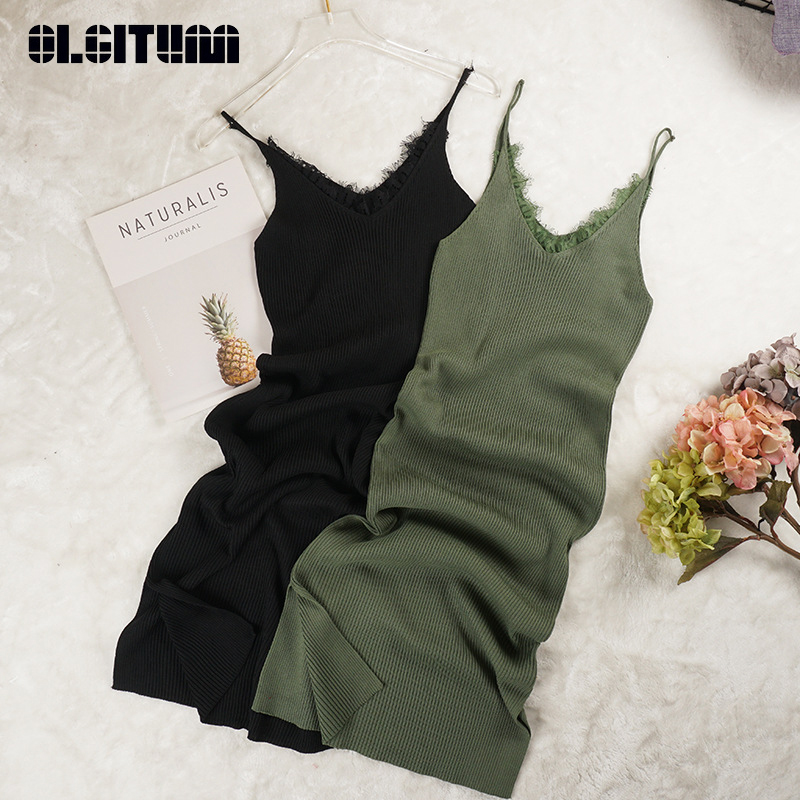 Women Spaghetti Strap Dress 2019 Summer V-Neck Lace Patchwork Knitted Dress Split High Waist Bodycon Tank Vestidos Mujer