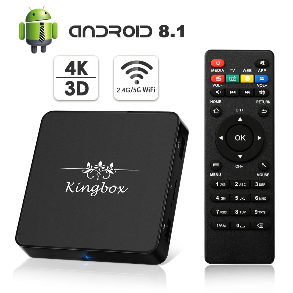 Newest Kingbox Android 8.1 TV Box 2.4G 5G Dual Wifi 2GB RAM 16GB ROM RK3229