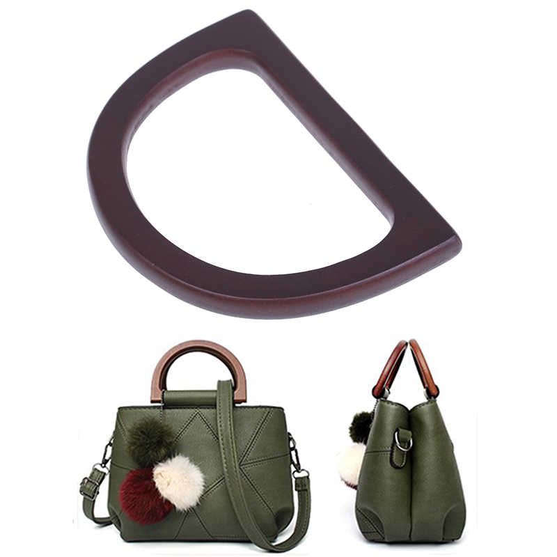 1pc Wooden Handle Replacement DIY Handbag Purse Frame Bag Accessories New Fashion Style Wooden Bag