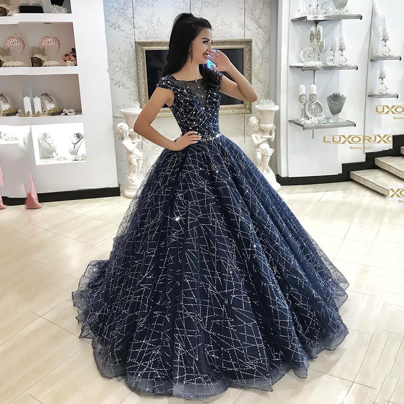 Dark Navy 2019   Prom     Dresses   Scoop Glitter Sequin Ball Gown Backless Party Maxys Long   Prom   Gown Evening   Dress   Robe De Soiree