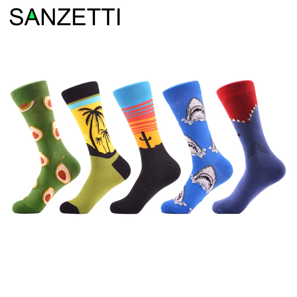 SANZETTI 5 pairs/lot Men's Funny Pattern Combed Cotton Socks Casual Crew Socks For Man Long Business Dress Wedding Socks Gifts