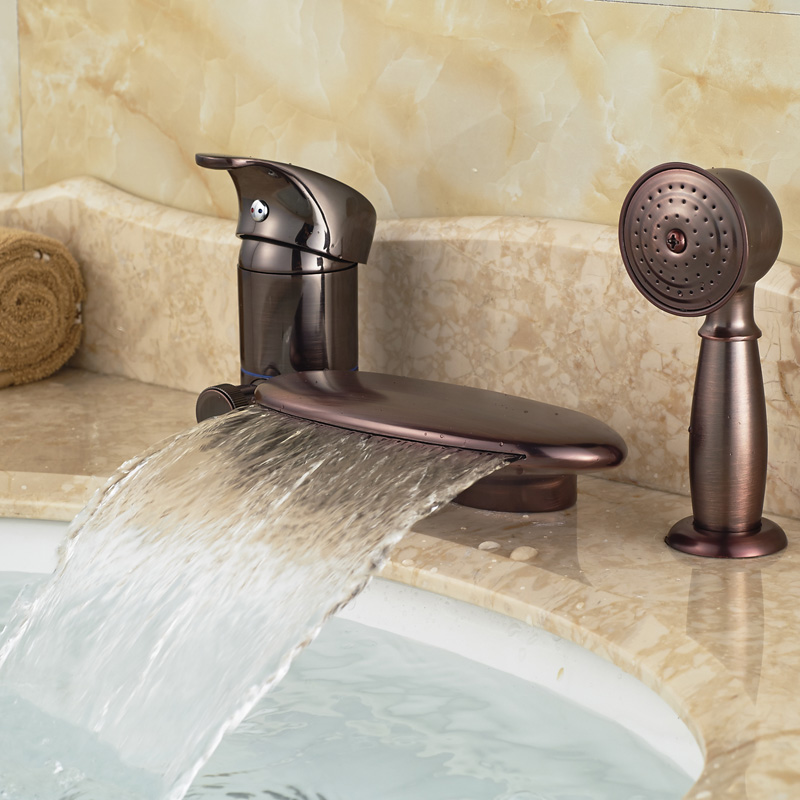 2016 Bathroom Bathtub Mixer Taps 3 PCS with Hand Shower Deck Mount Oil Rubbed Bronze Faucet