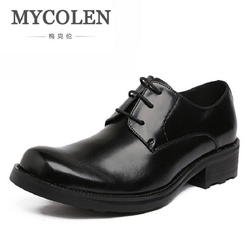 MYCOLEN Genuine Leather Mens Dress Shoes Top Quality Oxford Shoes Men Lace Up Business Brand Men Wedding Shoes Sapato Masculino men s shoes business dress genuine leather evening dress flat shoes brand luxry oxford men loafers wedding leather shoes