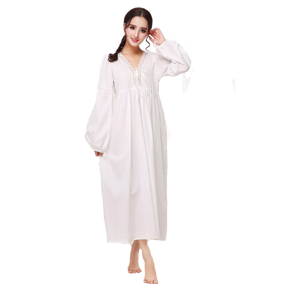 Women Sexy Nightwear Long Nightgowns For Women Summer Cotton Dress 2018 Deep V Ladies Night Gowns White Princess Nightgown