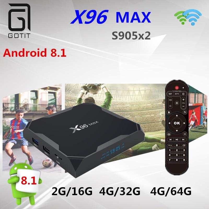 New X96 MAX tv box android 8 1 Amlogic S905X2 Quad Core 4G 32GB 4G 64GB