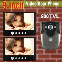 Venta al por mayor de vídeo Intercom 9 pulgadas LCD Monitor 900TVL cámara Video de la puerta teléfono de Bell de puerta IR cámara de visión nocturna de interfono por cable 1V2
