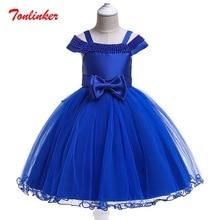 цены Girls Princess Solid Color Bow-Knot Circle Bead Dress Girls Birthday Wedding Theme Party Ball Gown Tutu Dress