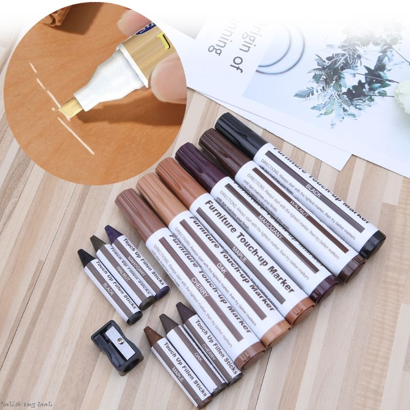 6+6pcs Wood Repair Kit Furniture Paint Floor Repair Floor Wax Crayon Scratch Patch Paint Pen Wood Composite Repair Materials