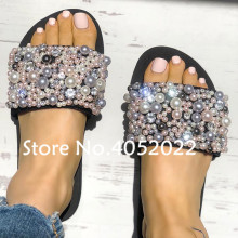 aacdc6edf3c YUE JABON Sexy String Bead Pearl Summer Shoes For Womens Fashion Rhinestone  Sandals Casual Flat Sandals