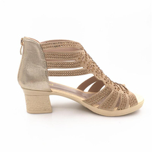 summer female sandals  leather fish mouth sandals cowhide diamond hollow high heel women GLADIATOR SANDALS