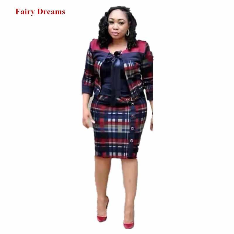 שתי חתיכה להגדיר נשים דאשיקי אפריקאית שמלת קרדיגן חליפות 2019 משובץ עיפרון שמלות ליידי קצר מעיל אפריקאי קנגה בגדים