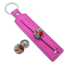 Hot Sale 002 PU Leather fashion key chain fit 18mm Snap Button keychains Charm Jewelry For Women Men keyring Gift