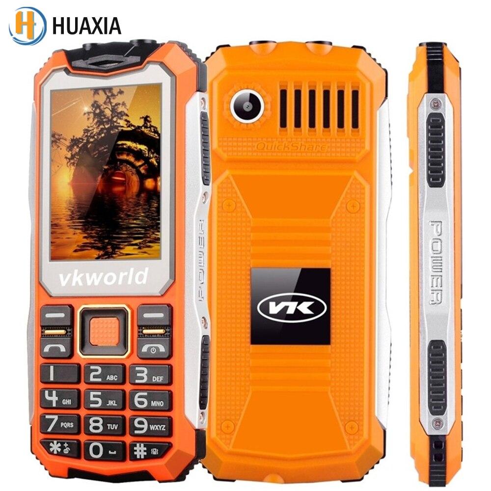 Цена за VKWorld Камень V3S 2.4 дюймов Водонепроницаемый Dropproof Пыле Мобильный Телефон GSM Двойной СВЕТОДИОДНОЙ Фары Старший Big BOX Speaker Mini Мобильного Телефона