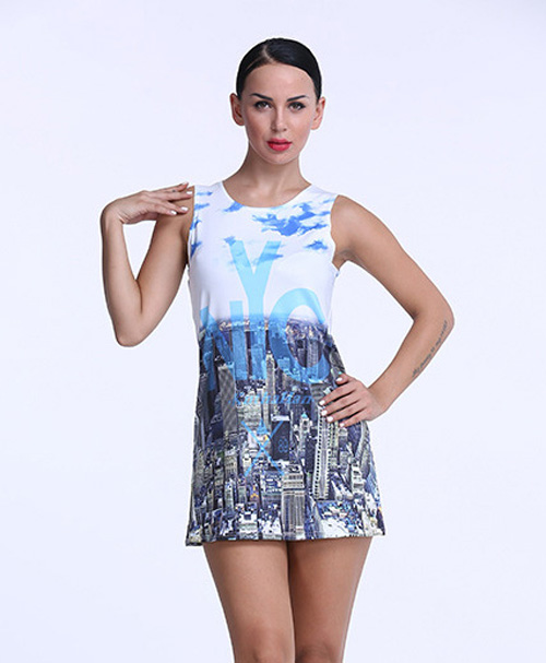 f5babae07de fashion womens woman summer vest style sexy cute elegant sleeveless print  city sky mini dress dresses clothes clothing for women
