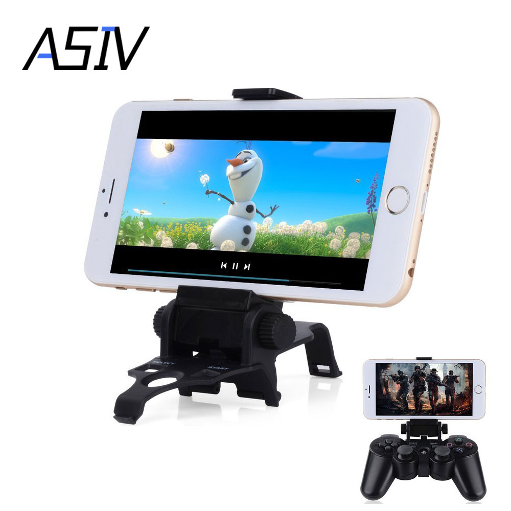 180 Degree Length Adjustable Smart Clip Game Phone Holder Stand for Sony Playstation PS3 Dual Shock 3 Controller with D-Pad Cap