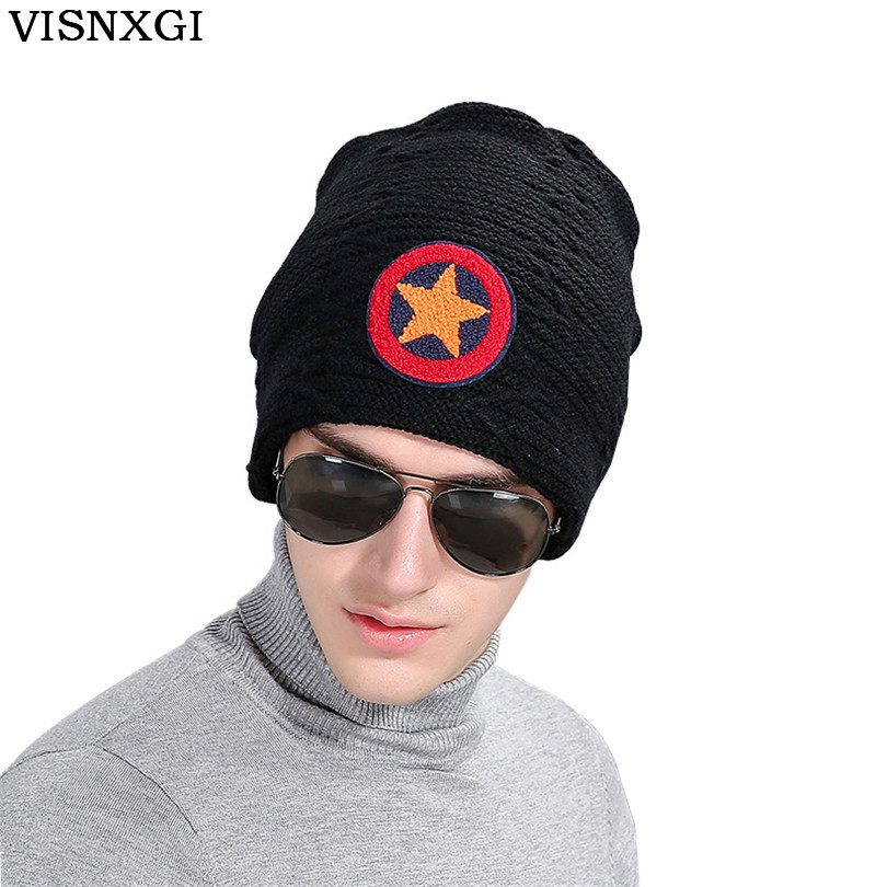 Men Velvet Skullies Knit Hat Bonnet Winter Warm Knitted Wool caps Hats Braid Star Brand Fringe Beanies Male Gorros Carhart M071 skullies