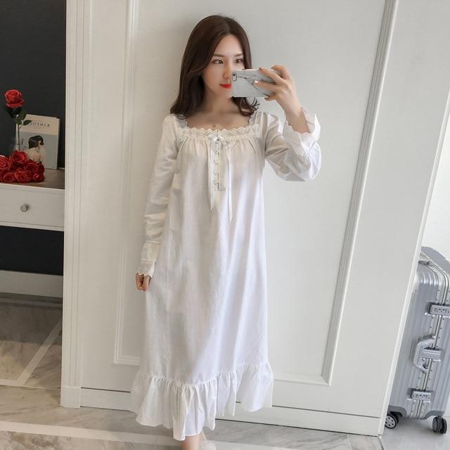 Women Sleepwear Dress Cotton Nightgown White Night Wear Vintage ...
