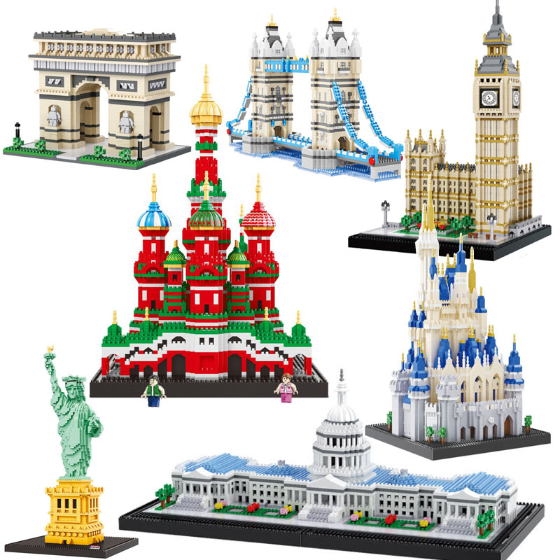 Balody World Famous Architecture Diamond Building Blocks Toy Taj Mahal Vassili Church Big Ben London Bridge(China)