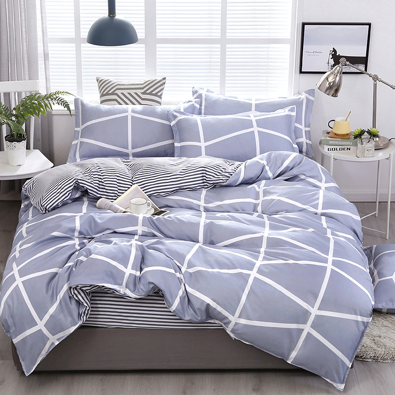 Double Sided Striped Grey White Sheets