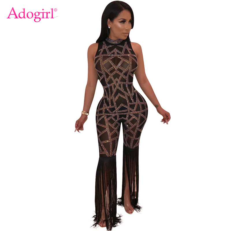 Adogirl Tassel Patchwork Diamonds Sheer Mesh   Jumpsuit   Women Sleeveless Romper Sexy Night Club Party Overalls Costumes Outfits
