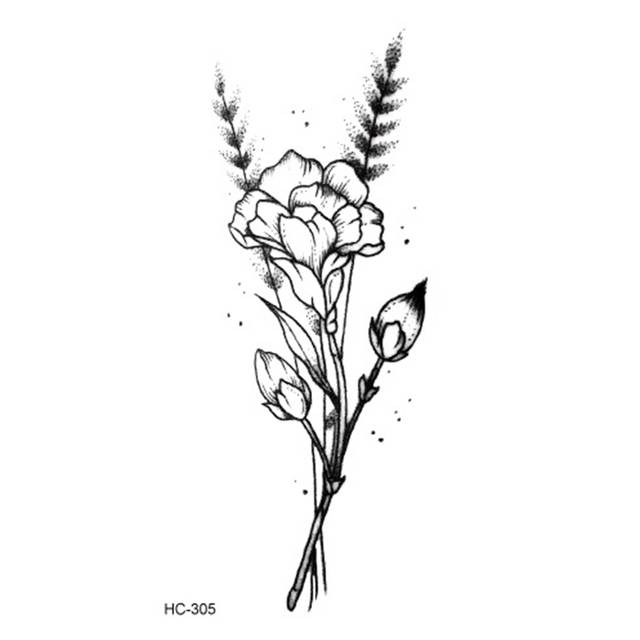 02 50 De Réductionchaud 1pc Populaire Ballet Noir Blanc Fleurs Tatouages Autocollant Temporaire Dessin Art Corporel Faux Transfert Deau In