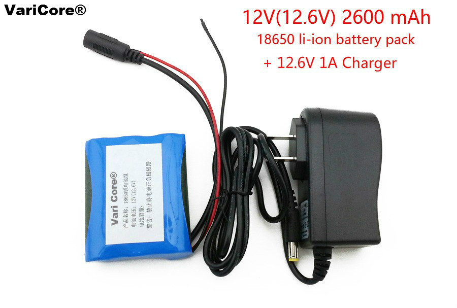 12 V 2600 mAh 18650 Li ion Rechargeable battery Pack for CCTV Camera 12 6V 1A