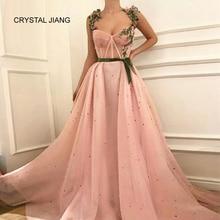 CRISTAL JIANG Nouvelle Mode 2018 robe de festa longo Brodé Perlé Blush Rose Taille Sash Personnalisé fait Longue Robes De Soirée