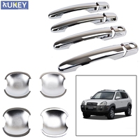 FREE SHIPPING 2IN1 FIT FOR 2005 2010 HYUNDAI TUCSON CHROME DOOR HANDLE COVER BOWL CUP TRIM