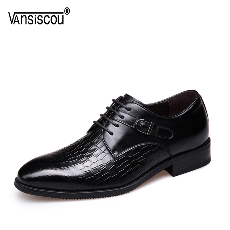VANSISCOU Brand Men Dress Shoes Fashion Genuine Leather Lace-Up Flat Male Oxford Shoes Party Wedding Shoes Crocodile Pattern new arrival mens fashion wedding party dress genuine leather derby shoes breathable lace up oxfords shoe crocodile pattern male
