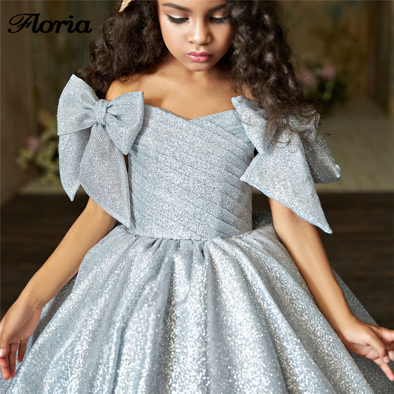 2018 Bling Sequins   Flower     Girl     Dresses   Ball Gown Pageant Gowns For Weddings First Communion   Dresses   For   Girls   Vestidos daminha