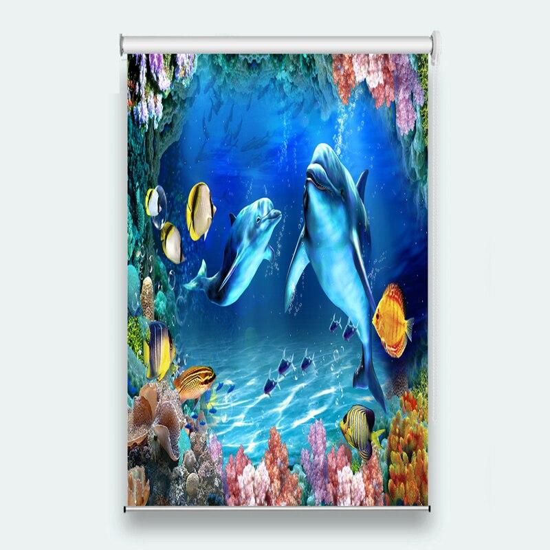 Luxury European Modern cartoon curtain ocean dolphin curtain for bathroom
