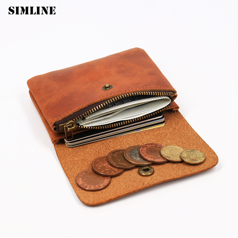 SIMLINE Genuine Leather Men Wallet Men's Women Vintage Short Small Mini Wallets Coin Purse Card Holder Zipper Pocket Carteira simline genuine leather men wallet men s vintage crazy horse cowhide short wallets purse with coin bag pocket card holder male