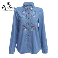 AZULINA Embroidery Denim Shirt Women Floral Jeans Blouse Blusas Long Sleeve Casual Female Blue Shirt Chemise
