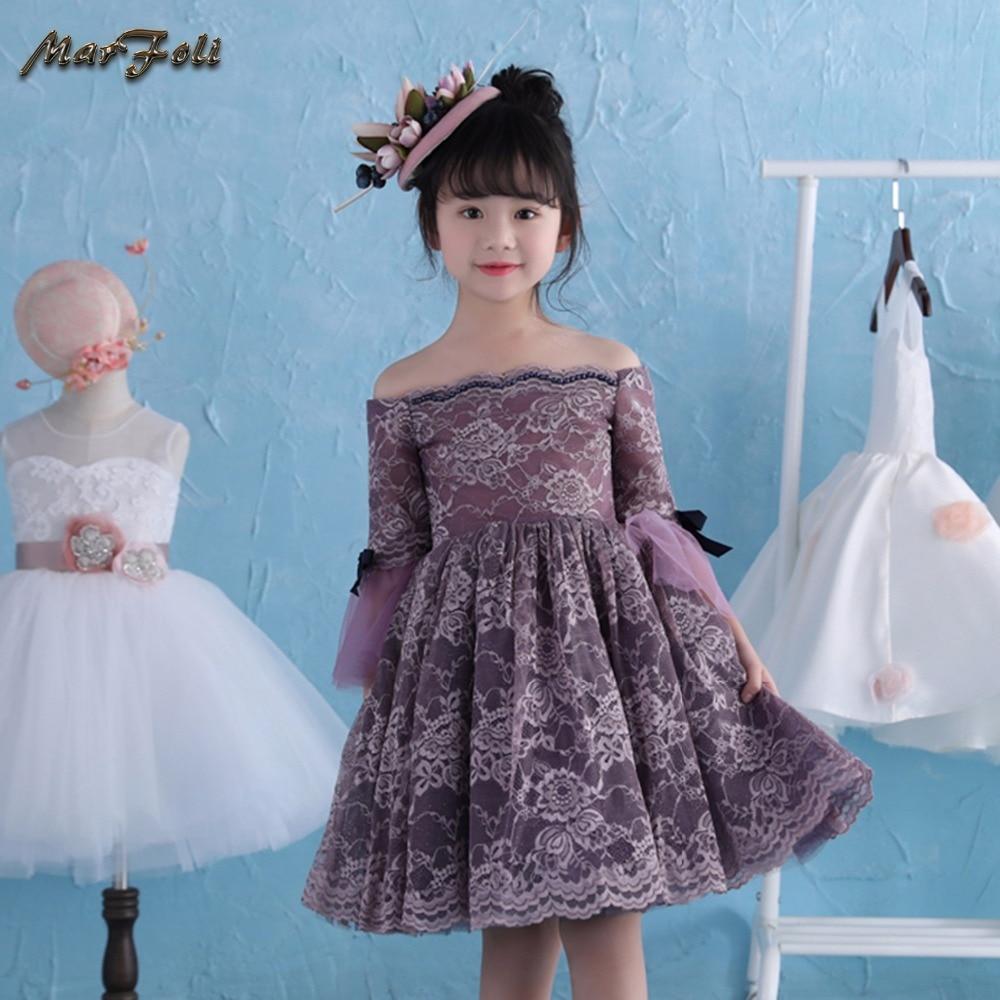 Marfoli purple Girl Party Dress Holiday Princess Dresses lace kids costume dresses wedding occasion costume for girls #ZT0062 marfoli girl princess dress birthday