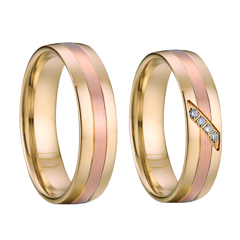 Wedding Band Titanium Rings for men Custom tailor jewelry Alliances Rose Yellow Gold Color Couple Rings for women