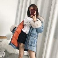 Высокое качество Для женщин Джинсовые куртки длинные пальто Для женщин натуральный Лисий меховой воротник утка вниз хлопковая куртка Femme з
