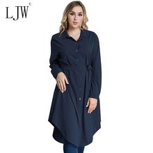 Plus size dress for woman Long sleeve button loose big size 6XL shirt dress