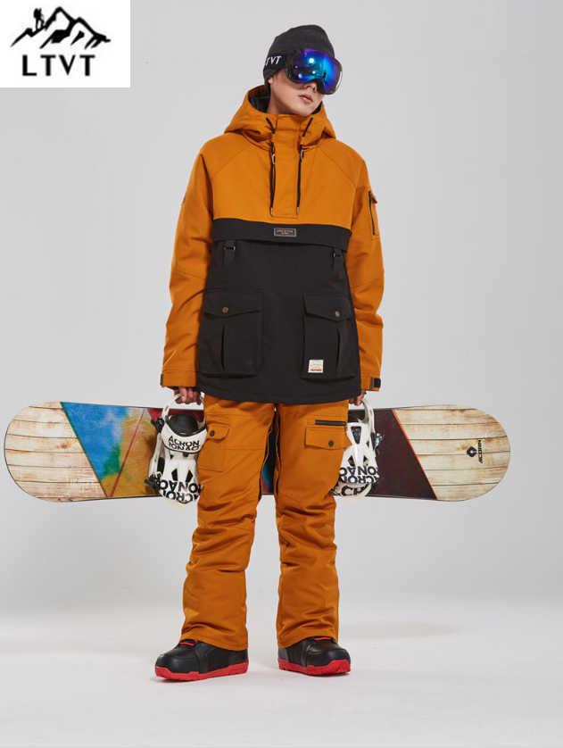 LTVT スノーボード衣料の男性の女性の雪のスーツカラーマッチング厚みキルティング防水ダブルボード新しい男性スキースーツセット