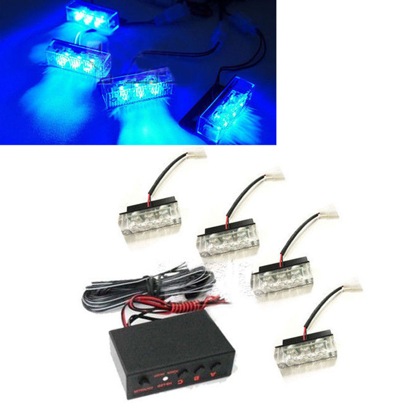 4x 3 LED 12V Blue Strobe Emergency Flashing Light Car Auto Warning Lights 3 Flashing Modes For Auto Car Truck Accesoris 6 ways led strobe light 3 flashing modes controller flash light lamp emergency flashing controller box 12v for car motorcycle