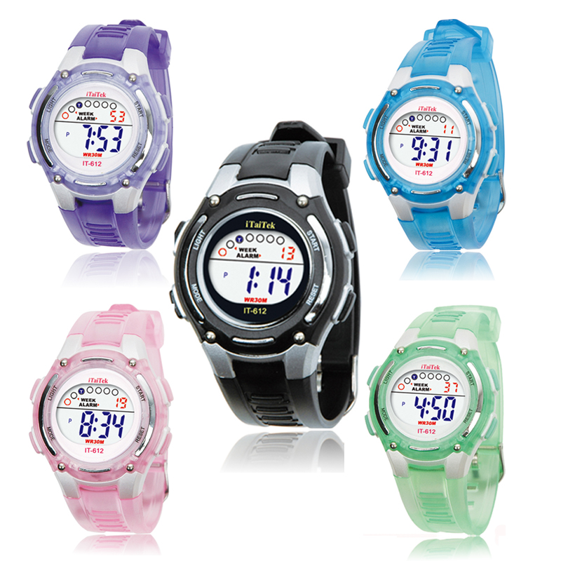 Kids Watch Swimming Sports Digital Life Waterproof Silicone Band Boys and Girls Wrist Watch in Black Pink Purple Green and Blue sketches in lavender blue and green