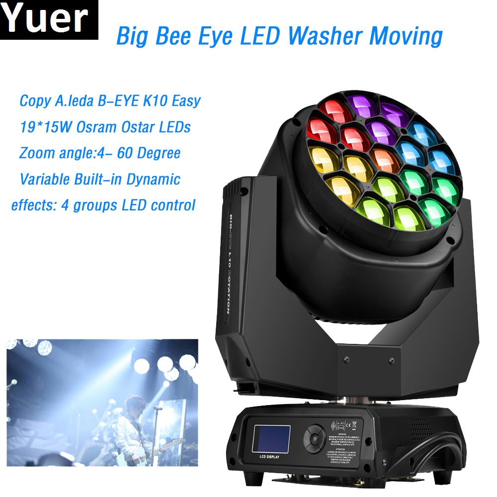 2018 Factory Price LED Big Bee Eye Moving Head Washer Lights Copy Clay Paky 19X15W RGBW Quad Color O-sram Lamp DJ Disco Lights