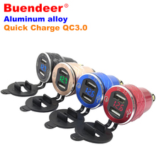 Voltmeter Cigarette-Lighter-Adapter Usb-Plug Moto Waterproof Usb Quick-Charge Buendeer