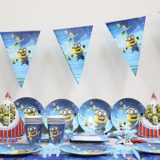 61pcs/lot cartoon minions paper plate cup napkin banner kids birthday party decoration festival supplies & 61pcs/lot cartoon minions paper plate cup napkin banner kids ...