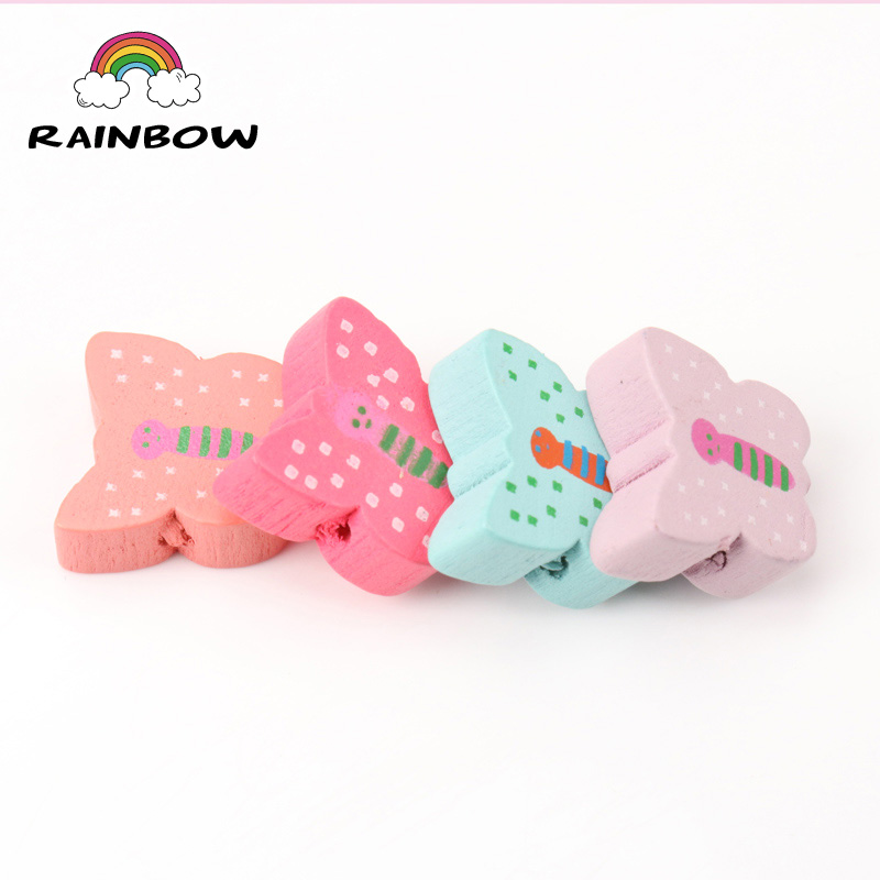 Mixed Colours Cartoon Butterfly Pattern Shape Wooden Material Spacer Beads For Children Jewelry Making DIY 16x15mm 50pcs