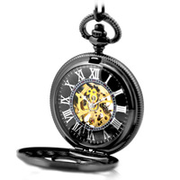 Classic Elegant Hand Winding Vintage Unique Roman Numerals Round Pendant Hunter Mechanical Jewelry Chain Pocket Watch Men