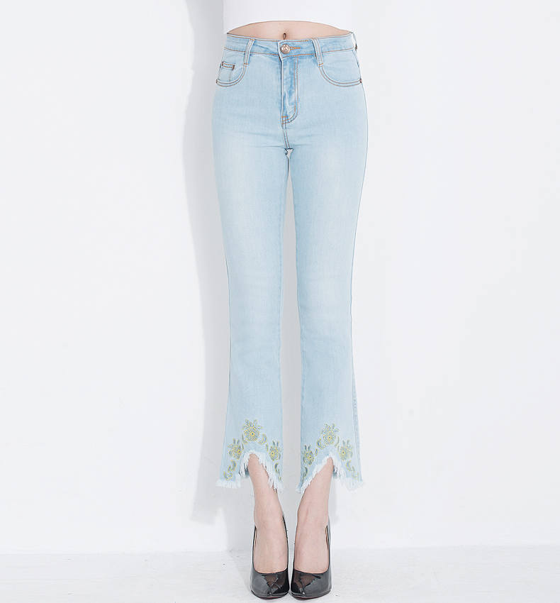 KSTUN Fashion 2018 Jeans for Women High Waist Boot Cut Light Blue Flared Embroidery Elastic Vintage Denim Pants Mujer Plus Size 16